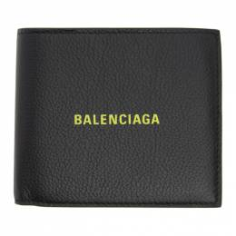 Balenciaga Black and Yellow Square Coin Wallet 594315-1IZF3