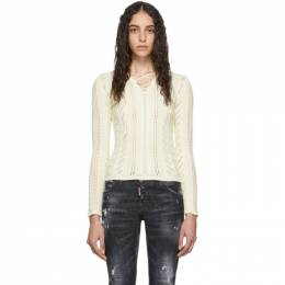 Dsquared2 White Lace-Up V-Neck Sweater S75HA0943 S16981