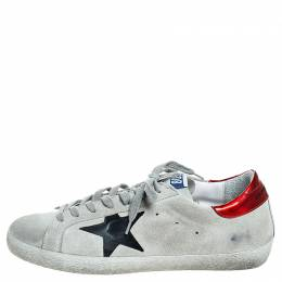 Golden Goose Deluxe Brand Grey Suede Superstar Lace Up Sneakers Size 41