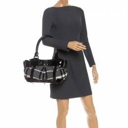 Burberry Black/Grey Beat Check Nylon and Patent Leather Small Healy Tote 252174