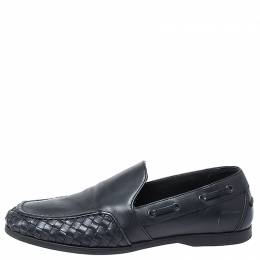 Bottega Veneta Black Intrecciato Leather Slip On Loafers Size 40 253608
