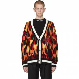 Palm Angels Multicolor Wool Flames Cardigan PMHB006R206000171088