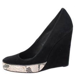 Tory Burch Black Suede And Multicolor Embossed Python Platform Sandra Wedge Pumps Size 37 253309