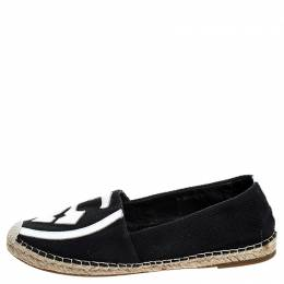 Tory Burch Black Canvas And White Leather Trim And Logo Lonnie Espadrilles Flats Size 41 253496