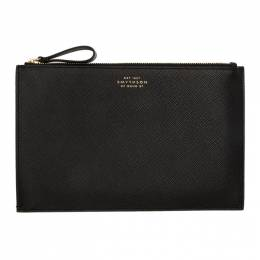 Smythson Black Panama Gusseted Pouch 1024318