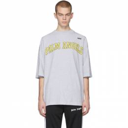 Palm Angels Grey New College Logo Over T-Shirt PMAA047R204130270788