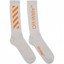 Off-White Grey and Orange Arrows Socks OMRA001R201200180619