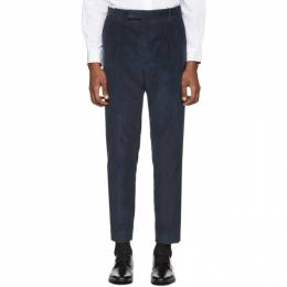 Paul Smith Blue Corduroy Triple Pleat Trousers M1R-909T-B00755