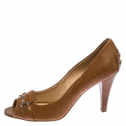 Tod's Light Brown Leather Gommini Peep Toe Pumps Size 39 Tod's