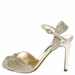 Ralph Lauren Collection Gold Textured Fabric Double Knot Peep Toe Ankle Strap Sandals Size 38 253790
