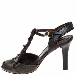 Fendi Brown Leather T Strap Peep Toe Ankle Strap Sandals Size 38 253583