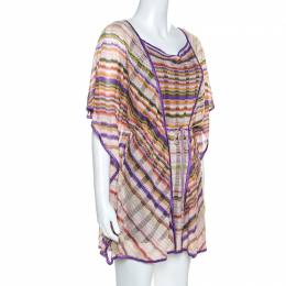 Missoni Mare Multicolor Chevron Patterned Knit Kaftan Tunic M 252196