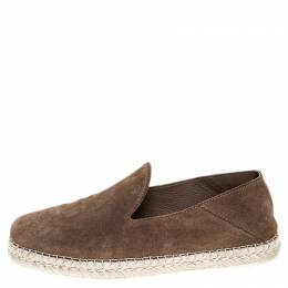 Tod's Brown Suede Collapsible-heel Espadrille Loafers Size 39.5 253499