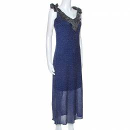 M Missioni Blue Metallic Knit Tie Shoulder Detail Maxi Dress S M Missoni 252242