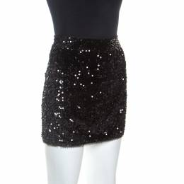 Zadig & Voltaire Black Sequined Jasmi Mini Skirt S 253949