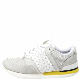 Bottega Veneta White Intrecciato Leather, Mesh and Suede Lace Up Sneakers Size 39.5 253893