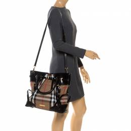 Burberry Black House Check Fabric Bridle Whipstitch Tote 253284
