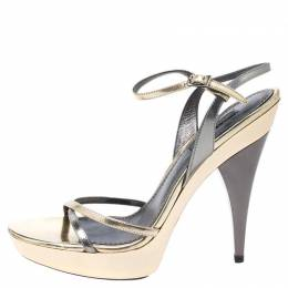 Dolce and Gabbana Metallic Silver/Gold Leather Strappy Platform Sandals Size 39
