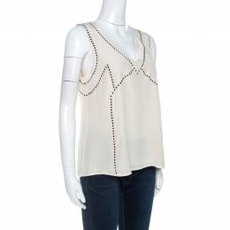 Marc by Marc Jacobs Cream Silk Embellished Frances Top M 254574