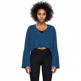 Live The Process Blue High-Low V-Neck Sweater 812