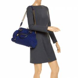 Marc Jacobs Blue Quilted Neoprene and Leather Stam Shoulder Bag 253955