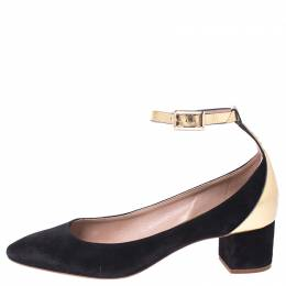 Chloe Black Suede And Metallic Gold Leather Heaven Block Heel Ankle Strap Pumps Size 37