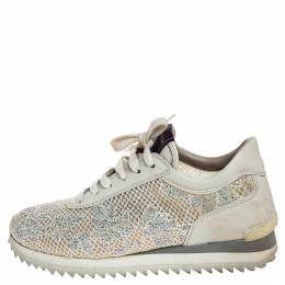 Le Silla Ivory Lace and Leather Trainer Sneakers Size 36.5 254847