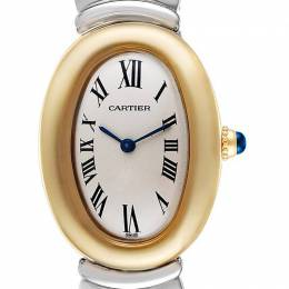 Cartier Silver 18K Yellow Gold and Stainless Steel Baignoire W15045D8 Women's Wristwatch 31.0 x 22.5MM 255384