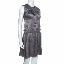 Zadig & Voltaire Grey Embroidery Detail Satin Rafi Brod Dresses S 253967