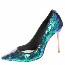 Sophia Webster Blue Sequin Fabric Coco Pumps Size 36 255725