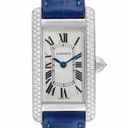 Cartier Silver 18K White Gold Diamond and Leather Tank Americaine WB701851 Women's Wristwatch 19x35 MM 255407