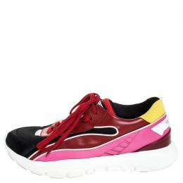 Valentino Multicolored Mesh and Leather Lace Sneakers Size 40 254837