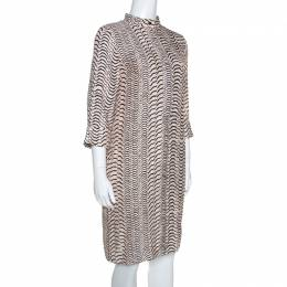 Sonia Rykiel Bicolor Printed Silk Long Sleeve Shift Dress M 254833