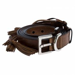 Givenchy Brown Leather Tassel Double Wrap Buckle Belt 195CM 254376