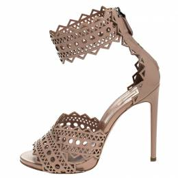 Alaia Beige Leather Laser Cut Out Sandals Size 40 255863