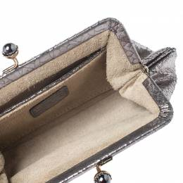 Anya Hindmarch Silver Crackled Leather Knot Clutch 255118