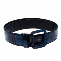 Bottega Veneta Blue/Black Python Buckle Belt 75CM 255878