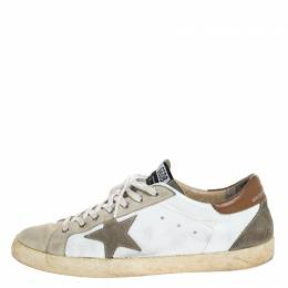 Golden Goose Deluxe Brand Grey/White Suede And Leather Superstar Lace Up Sneakers Size 46