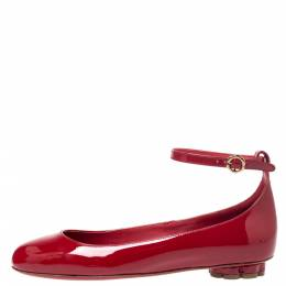 Salvatore Ferragamo Red Patent Leather Cefalu Ankle Strap Ballet Flats Size 36