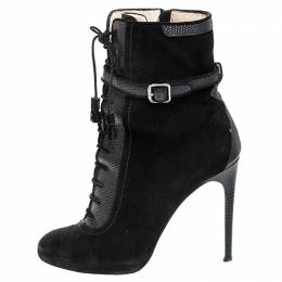 Paul Andrew Black Suede And Embossed Leather Lace Up Ankle Boots Size 38.5 256092