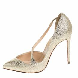 Christian Louboutin Metallic Gold Textured Leather Jumping Cross Strap Pumps Size 35.5 257035