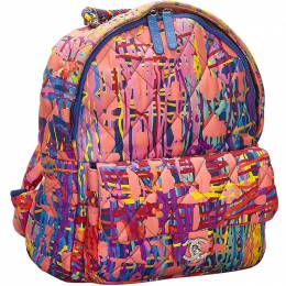 Pink Multicolor Quilted Fabric Foulard Backpack Bag Chanel