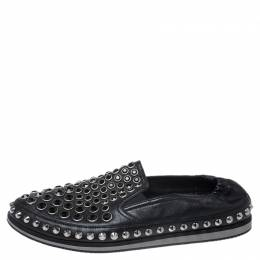 Prada Black Leather Studded Scrunch Loafers Size 41 256488