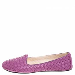 Bottega Veneta Purple Intrecciato Leather Ballet Flats Size 39 257202