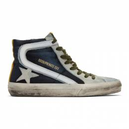 Golden Goose Deluxe Brand Blue and Grey Denim Slide Sneakers F36WS595.A94