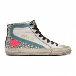 Golden Goose Deluxe Brand White and Silver Glitter Slide Sneakers G36WS595.A76