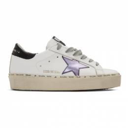 Golden Goose Deluxe Brand White and Purple Hi Star Sneakers G36WS945.M2