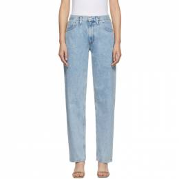 Agolde Blue Baggy Mid Rise Pleated Oversized Jeans A109-983