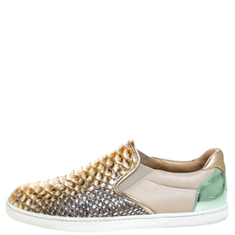 Christian Louboutin Multicolor Python Leather And Leather Pik Boat Slip On Sneakers Size 40.5 257398