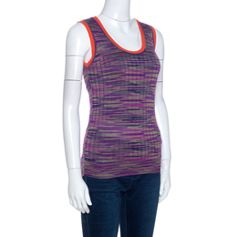 M Missoni Multicolor Knit Contrast Trim Sleeveless Tank Top M